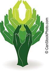 árbol verde, manos, logotipo
