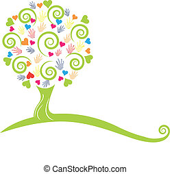 árbol verde, manos, y, corazones, logotipo