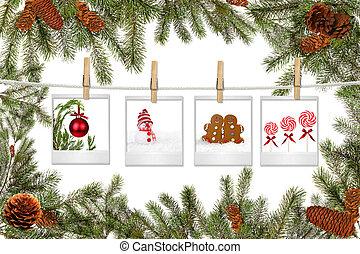 árbol verde, ramas, y, película, blanks, con, navidad, cuadros