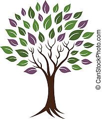 árbol, vida, joven, image., healthy., felicidad, icono, vector, concepto