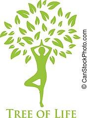 árbol, vida, yoga