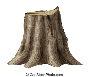 árbol, viejo, roto, tocón, roble, grande, tronco