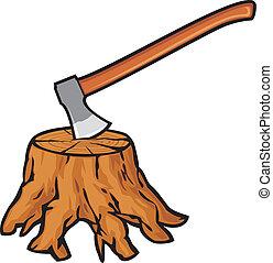 árbol, viejo, tocón, raíces, hacha