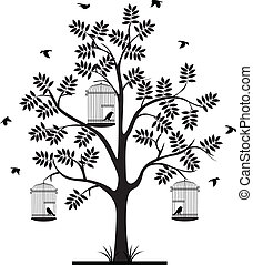 árbol, vuelo, silueta, Aves