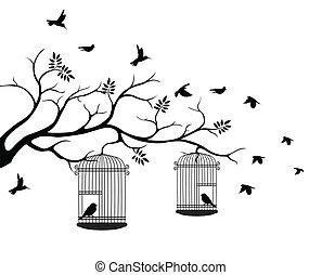 árbol, vuelo, silueta, pájaro