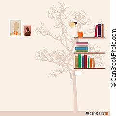 árbol, wallpaper., estante libros, vector, illustration.