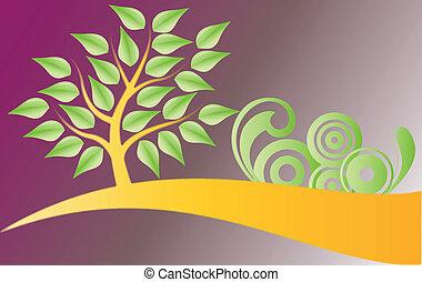 árbol, y, decoraciones