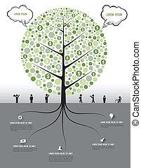 árbol, y, raíz, con, iconos