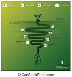 árbol, y, raíz, infographic, diseño, plantilla