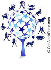 árbol, zodíaco, signo estrella