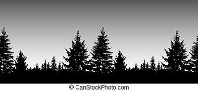árboles., conífero, seamless, paisaje.