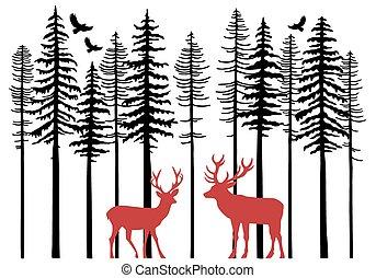 árboles de abeto, con, reno, vector