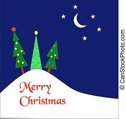 árboles de navidad, en, un, colina