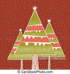 árboles, decoración, fondo rojo, tarjeta de navidad