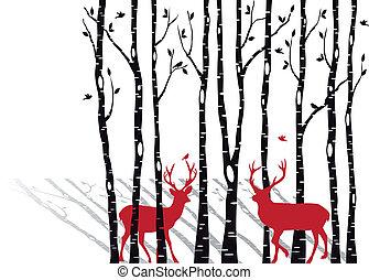 árboles del abedul, con, navidad, deers