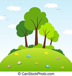 árboles, en, un, colina