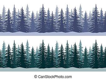 árboles, navidad, patrones, seamless