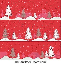 árboles, tarjeta de navidad, saludo