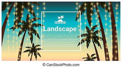 árboles, tropical, palma, plano de fondo, fiesta, playa, ...