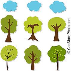 árboles, vector, conjunto