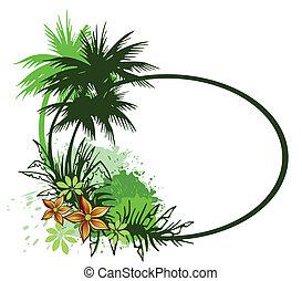 árboles., vector, palma, tarjeta, verano