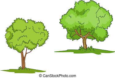 árboles verdes, con, pasto o césped