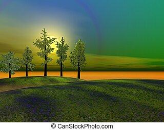 árboles, y, colinas