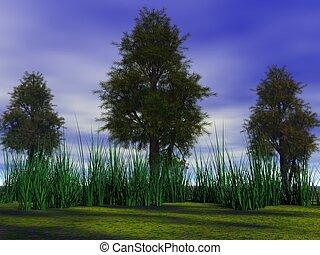 árboles, y, pasto o césped