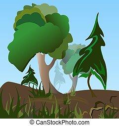 árboles, y, pasto o césped, vector