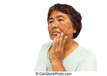 área, anti-envelhecimento, rosto, em branco, antigas, isolado, esquerda, fundo, conceito, dela, acne, rural, ), lado, ruga, mancha, mulher, (, toupeira