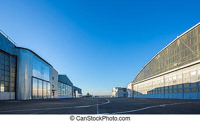 área, avión, entre, hangares