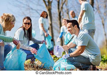 área, basura, limpieza, voluntarios, bolsas, parque