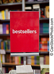 área, bestsellers, -, fondo., libros, muchos, librería