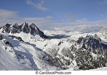 área,  ces, esquí,  Dolomites