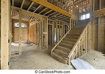 área, construcción, encuadrado, nuevo hogar, vestíbulo