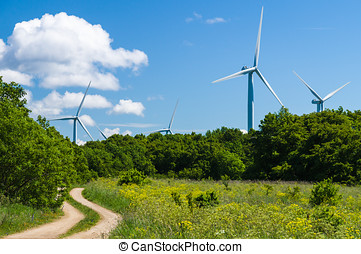 área, curvy, geradores, estrada, rural, vento