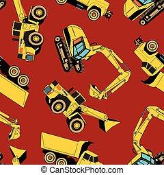 área de trabajo, patrón, vehículos, seamless, construcción
