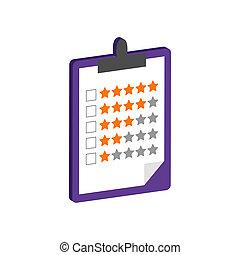 área de transferência, com, avaliação, símbolo., apartamento, isometric, ícone, ou, logo., 3d, estilo, pictograma, para, projeto teia, ui, móvel, app, infographic.