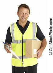 área de transferência, pacote, mensageiro, segurando