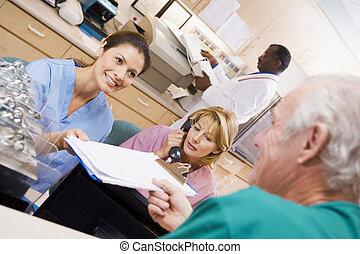 área, enfermeras, hospital, de manos, ser, portapapeles, ...