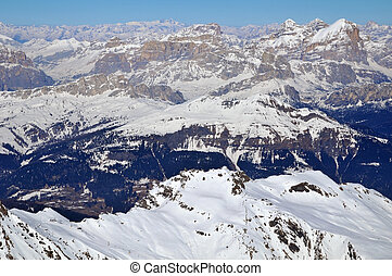 área esqui, em, a, dolomites