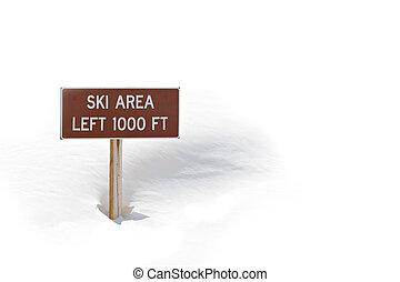 área esqui, sinal, em, neve