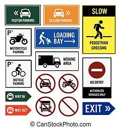 área, estacionamento, signboards, sinais