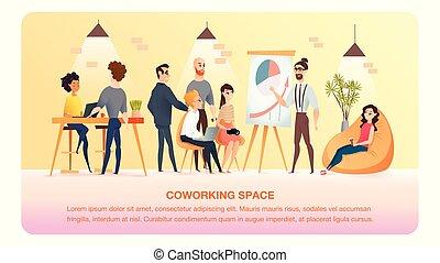 área, estudo, trabalho, personagem, coworking, bandeira