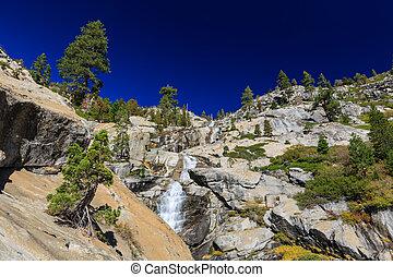 área, horsetail, lago, rastro, tahoe, outono