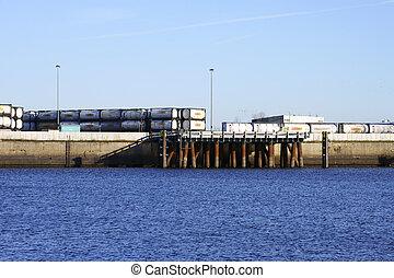 área industrial, com, gás, recipientes