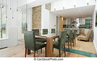 área, jantar, luxo, interior, plano, abertos, cozinha