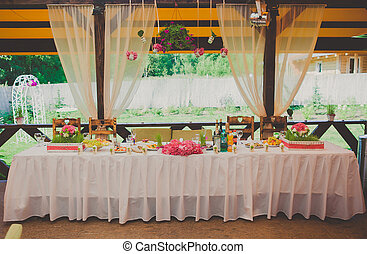 área, jantar, recepção, casório, pronto, partido