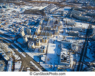 área, kharkiv, residencial, aéreo, ucrania, vista, invierno