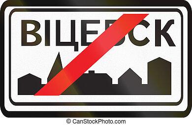 área, pueblo, belarus, fin, -, urbanizado, señal, utilizado...